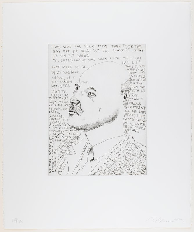 line drawing-style portrait of a balding man with very short hair and scruffy chin; may have scar on PL cheek; man wears jacket, shirt and tie; text above figure and on chest