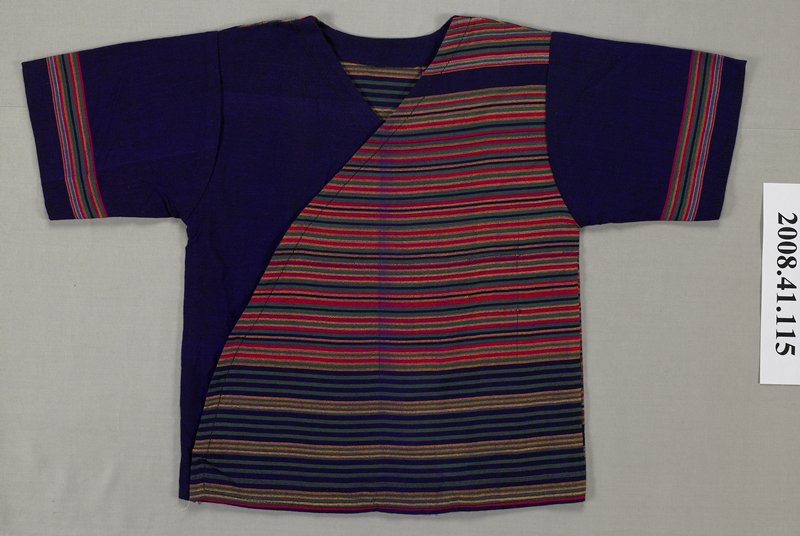 short, set-in sleeves; cross-over front with V neck; PL side of front is purple, green, yellow and pink striped; PR side of front is purple; striped back; purple sleeves have stripes near bottom; snaps at front