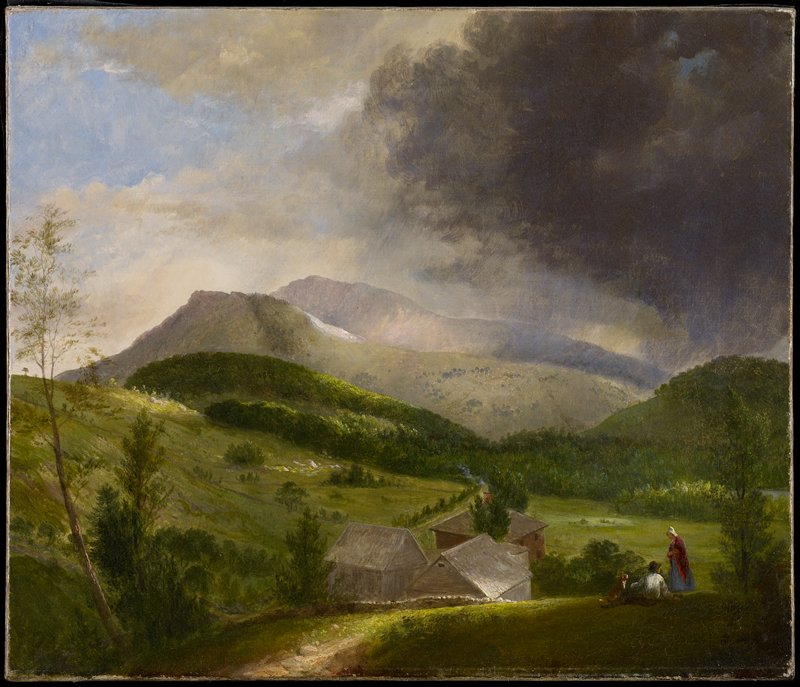 farmstead with figures in LRC; hillside with distant mountain peaks; darkened sky from URC