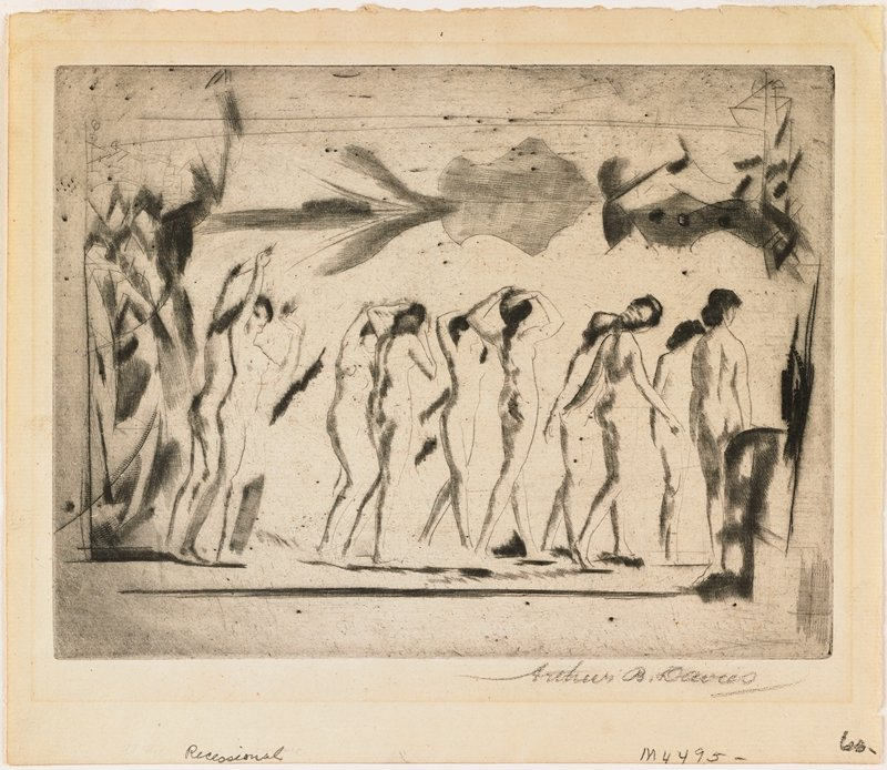 group of nude women reflected in a mirror; abstract forms above and beside group