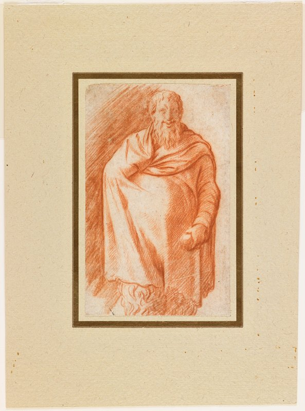 standing figure wearing a draping cloak with only the PL arm exposed, with PL hand holding a round object; long wavy beard and wavy hair; smiling face; wavy fur visible beneath cloak