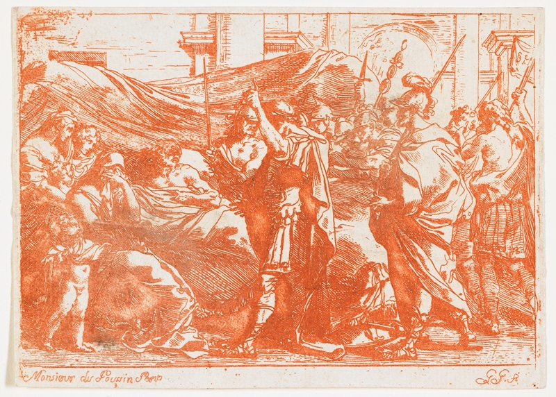 after Poussin painting of the same subject; reclining Germanicus on a bed with flowing drapery behind at left; three women--one weeping--and child at left; soldiers with spears at left; printed in red-orange; received matted with L2009.66.2.1