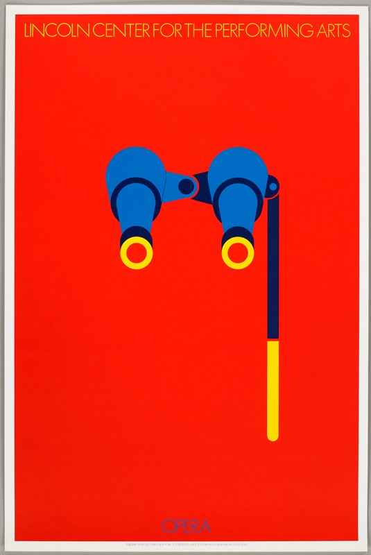 red ground; pair of blue and yellow opera glasses; small text in yellow and blue at top and bottom