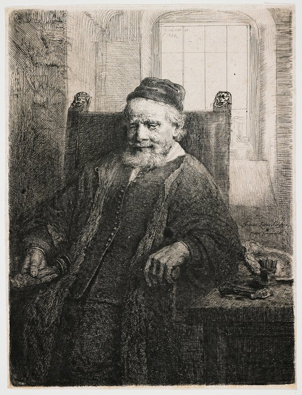 slightly longer than 3/4 portrait of a seated man with beard and moustache, wearing a cap, vest with many small buttons and long cloak; man holds an object in his PR hand; table at right with small hammer and other objects; window behind