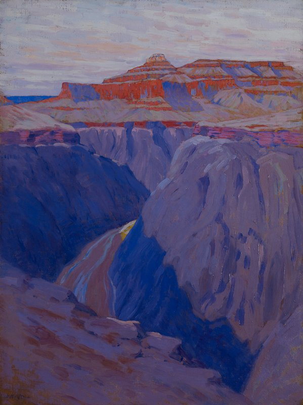 view of the Grand Canyon; purples in the foreground, oranges in background; blue and purple shades in sky