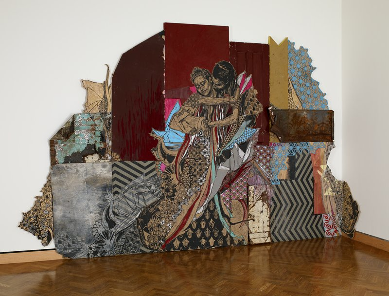 five detaching sections of mixed media construction that is painted primarily maroon in center section with embracing couple