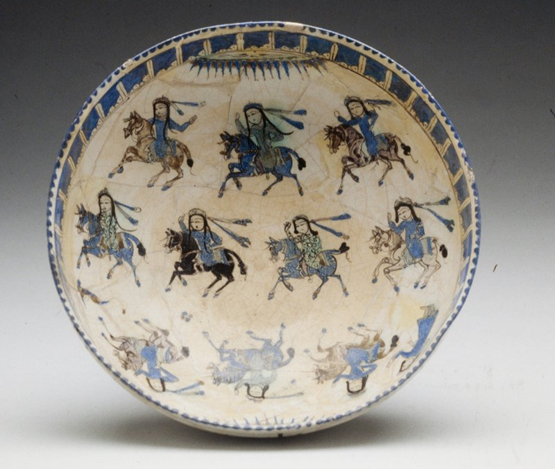 Bowl, overglaze painted ware; mounted ladies