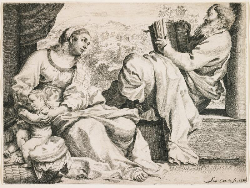 Joseph at R looking at a large book, seated sideways on a ledge, with landscape beyond; Mary at L, looking toward Joseph and steadying infants Jesus and John the Baptist on cushions at LLC