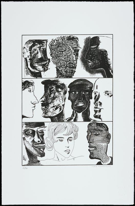 three rectangles in horizontal rows, each with drawings of stylized faces--three in top and bottom rectangles, four in center rectangle; black and white