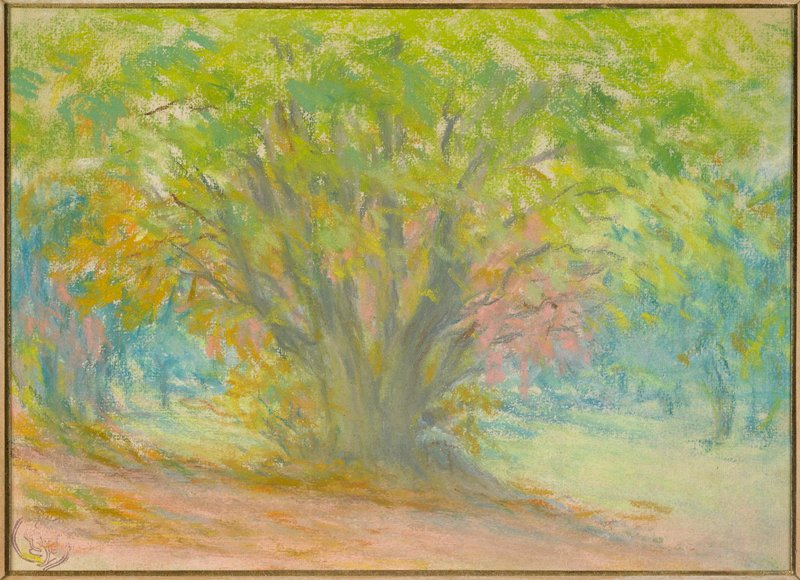 Colored pastel of bushy tree in clearing, surrounded by forest; small wood frame