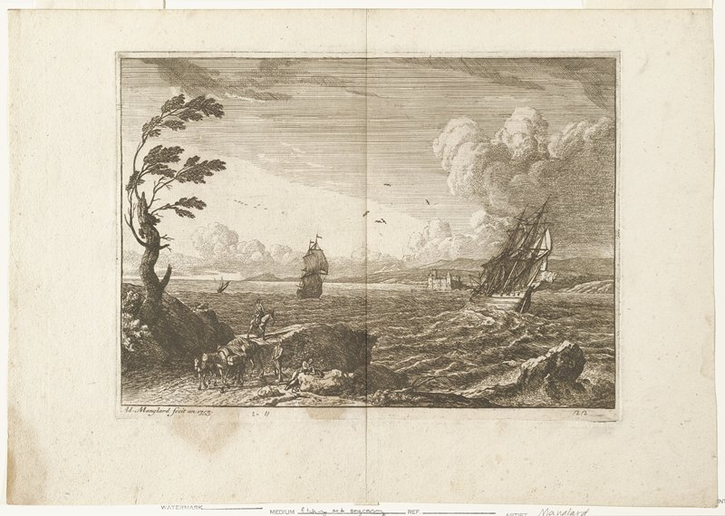 three ships; rocky shoreline left foreground; tree at far left; two men, one reclining and one mounted on shore; third man with horses laden with goods; castle center distance
