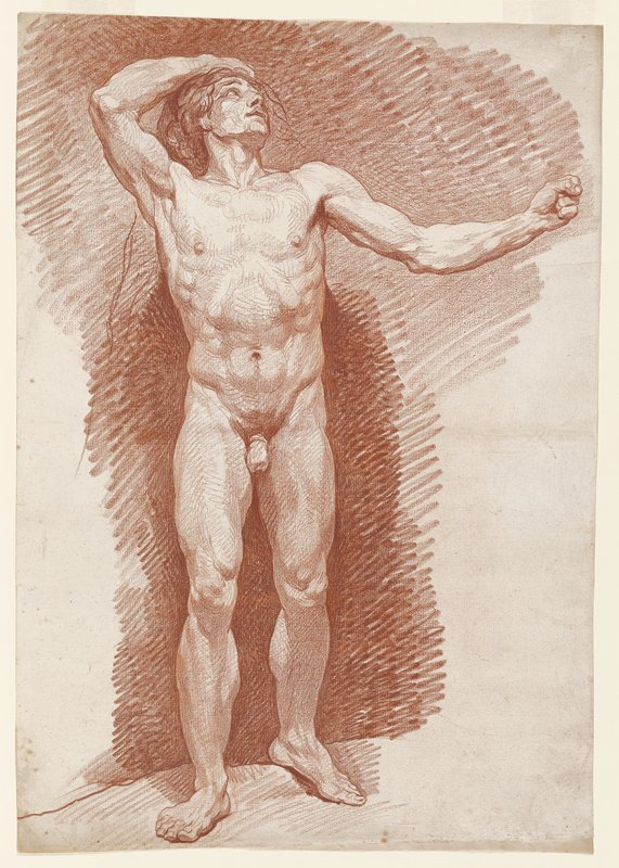 standing male nude, looking up to PL, with left arm extended out straight with left hand in a fist; right hand on top of head; PR leg supporting weight and slightly ahead of PL leg, with PL foot turned outward; long curly hair