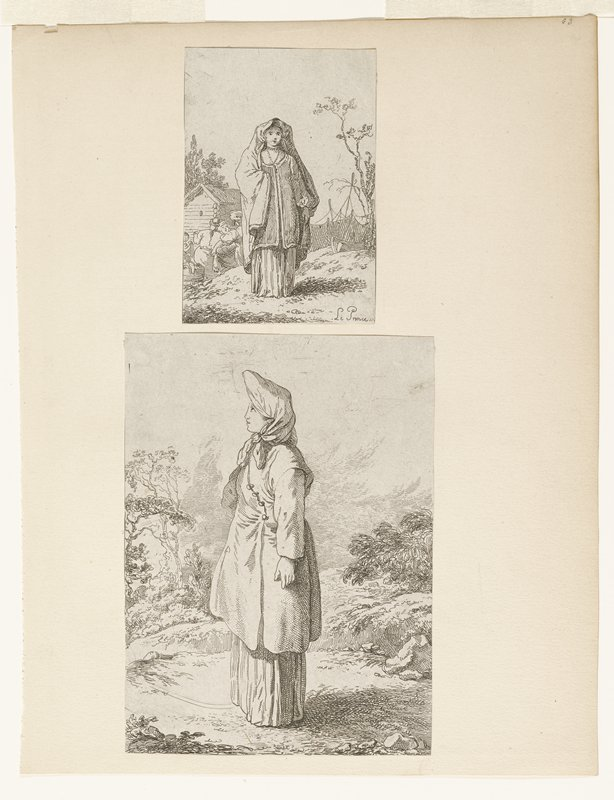 two prints on a single mount; top image all edges glued to mount; woman wearing cloak(?) over head; underneath low round neck tunic over long skirt or gown; long necklace with pendant around neck; other women in background left doing laundry; behind woman on right ship and fishing nets drying; small building background left; second image of woman wearing coat with diagonal row of buttons in front; scarf around head; long dress; countryside around; only top edge glued to mount