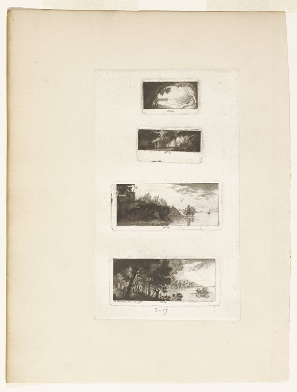 four small numbered landscapes printed on one sheet; No.49: river view framed by trees; No. 50: forest scene with two figures at left; No. 51: river view with house on hill at left; two figures on bank; sail boat in water; No. 52: river view; building and silo at left; trees on bank; island in river