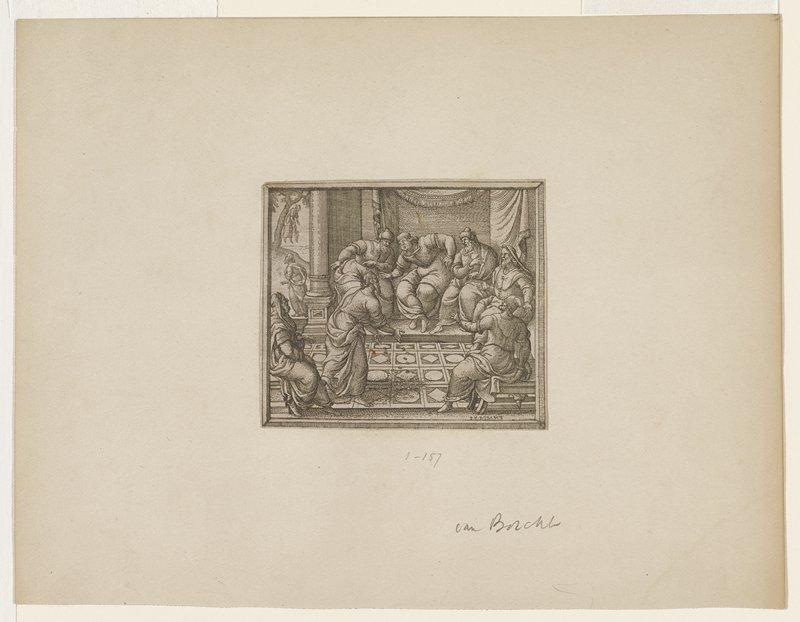 Judas returning pieces of silver; Judas suicide in left distance