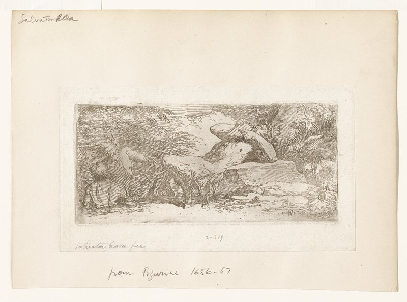 Pan(?) semi-reclining on a stone playing pipes; two smaller figures at lower left