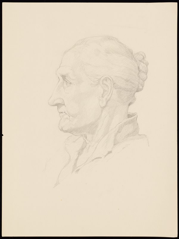 portrait in profile from PL of old woman with her hair in a bun