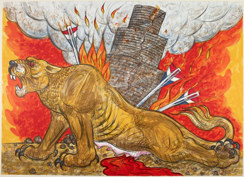 lioness with flaming red, white and blue darts in her back and shoulders, and with a bleeding wound in her belly; cracked stacked tower behind lionness; orange and yellow flames in background and smoke at top