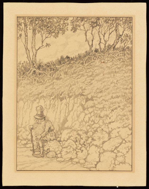 man seated on a rock in LLC; man has a long beard and long, scraggly hair, holds a cane in his PR hand and wears a tunic with a patch on the PL hip, tights, boots and a tall hat; small sack on ground next to man; landscape with small bluff behind man, with trees at top