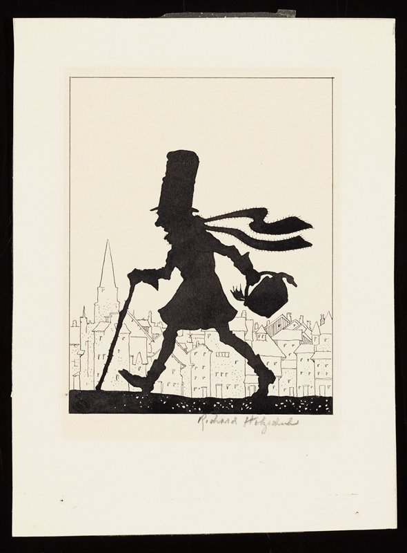 silhouette of a striding man wearing a tall top hat, boots and a neck scarf, walking with a cane and carrying a basket with a duck; line drawing of buildings behind man