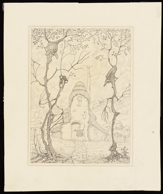 three personified tall, thin trees--two on left, one on right--flanking a stone path to a cottage with a figure standing by the door