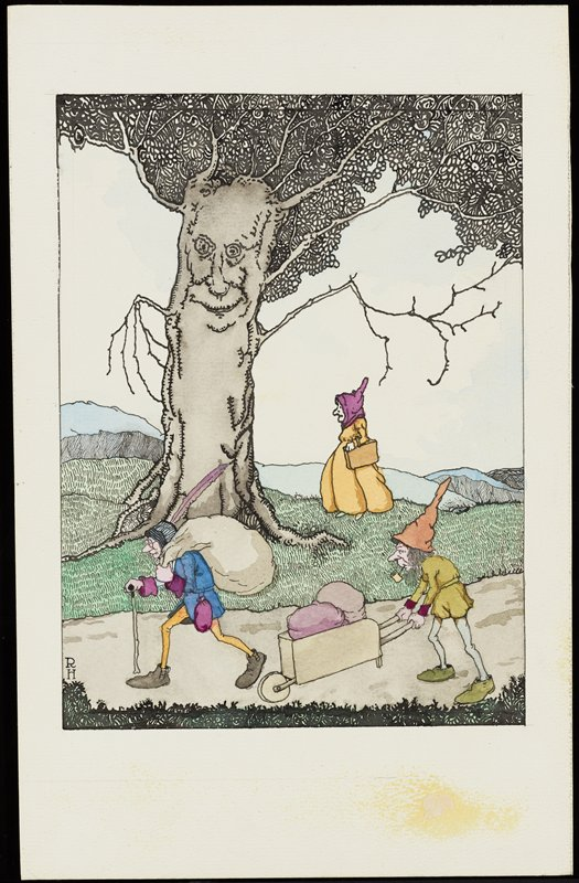 three figures in a landscape; two men with long thin legs walking on a path; figure at left carries a large sack on his back and has a walking stick and wears a cap with a long purple feather; figure at right on path smokes a pipe and pushes a wheelbarrow; woman in a yellow dress in middle ground, wearing a purple hood and carrying a brown case; grey tree with human face in front of woman