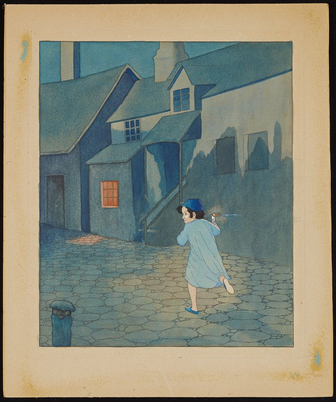 boy with dark hair, seen from back, with head turned to PL, running through a deserted night cobblestone street, carrying a candle and wearing a blue cap, nightshirt and slippers