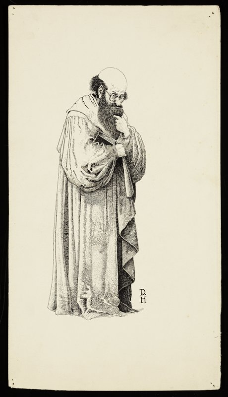 standing bald man with fringe of fuzzy hair and long dark beard, wearing glasses and a long robe, holding a book in the crook of his arm; man strokes his beard with PL hand and looks thoughtfully downward