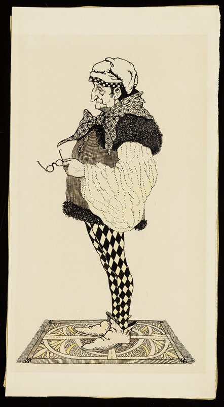 standing old man in profile from PL; man has large hooked nose and wears fur-trimmed tunic with large puffy sleeve, yellow and black checked tights, cap with checked trim and patterned scarf and holds a pair of glasses in his PL hand; man stands on small patterned rug