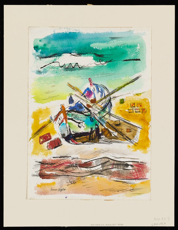 abstracted image of boat on shore; water in background; fishing net in foreground