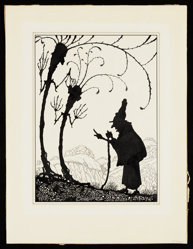 silhouette of an old woman leaning on a walking stick, pointing her finger at two silhouettes of personified trees at left; tree at left holds the ear of tree at right