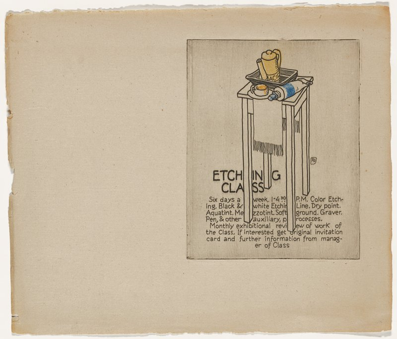"""table with fringed cloth; tray containing yellow pitcher labeled """"ACID""""; tube of blue pigment; small pot with yellow pigment (?); text at bottom"""
