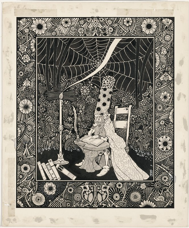 figure with pointed ears and long beard, wearing glasses and a very tall conical hat with circular Art-Deco pattern and long cape with scroll motifs in dotted lines, seated, reading a book, with a quill pen in an ink bottle beside book; tall candle in candle holder at left; flowers and large spider web in background; more books in LLC; ornate floral border with insects