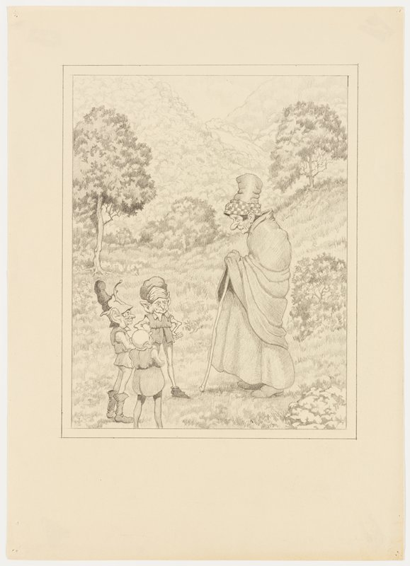 slightly stooped figure at right, wearing cap with checkered brim, shawl and skirt, leaning on a cane, talking to three elves with large ears, wearing tunics and tights; landscape in background with foliage and trees