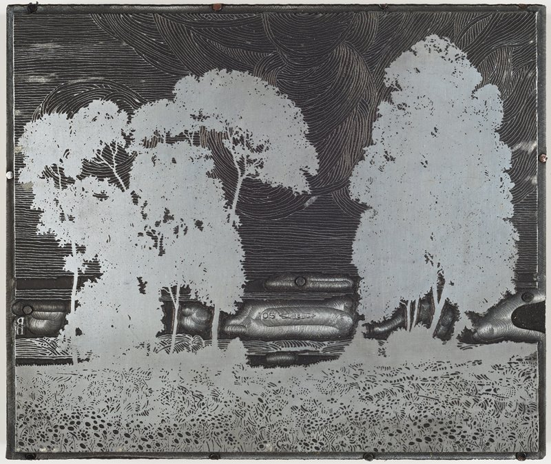 image of landscape with tall trees and swirling sky; plate affixed to wood block; paper label (?) on back