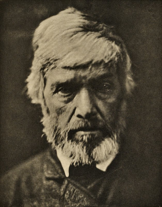close up of face of bearded, white haired Thomas Carlyle