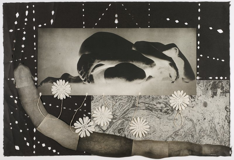 central negative photographic image of a woman lying down in a fetal position with her arms wrapped around her head; collage of photographic images at bottom creating a worm with the head of a woman, seen from under her chin; black paper with cutouts in background; swirling, abstract imagery on rectangular section, LRC; five white cutout flowers with twisted paper stems below image of woman lying down