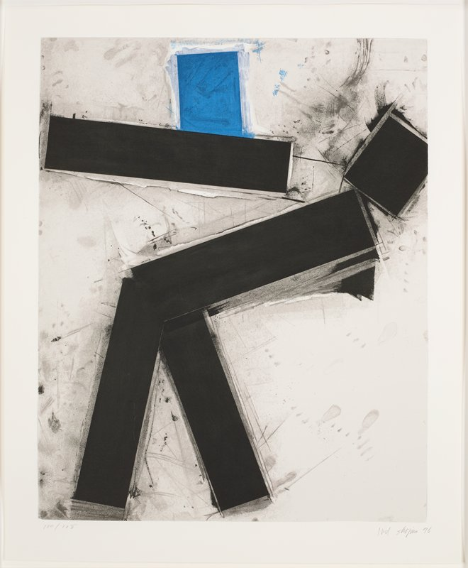 abstract figure composed of five black rectangles arranged on sheet with one blue shape at top, center; sketchy grey and black marks throughout sheet, including grey shadowing behind black rectangles