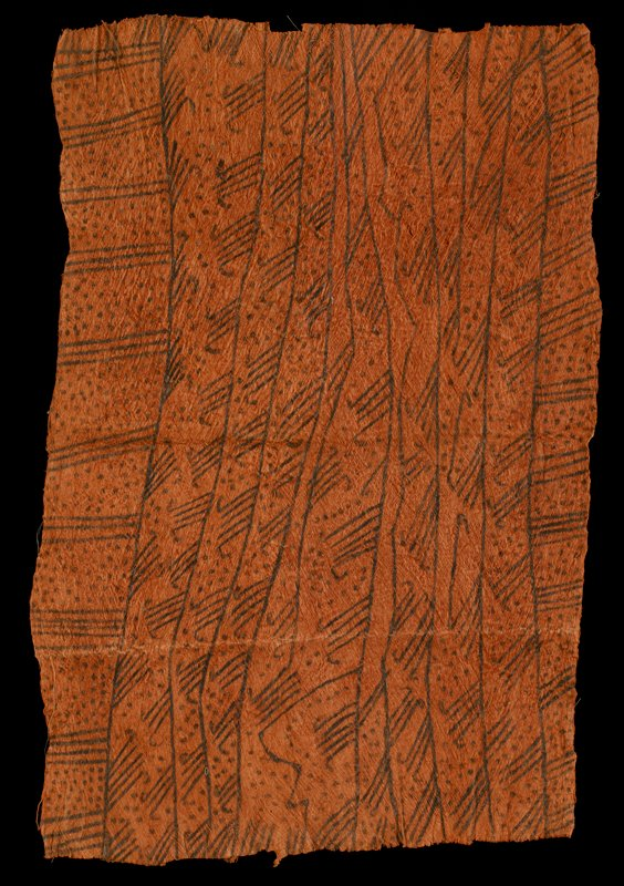 irregular orange rectangular panel with brown linear designs in irregular stripes with lines and dots; received sewn to a piece of Ethafoam
