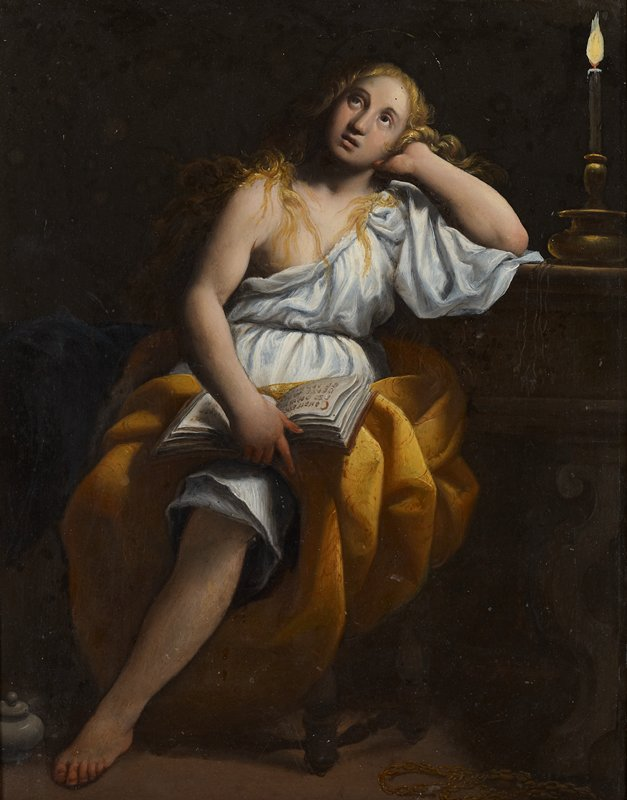 Mary Magdalen with long wavy blonde hair, seated, leaning her PL upper arm on a table with heavy turned leg; Mary wears a white gown, exposing her PR breast and arm, with a loop of gold fabric around her lap and PL leg; candle on table at Mary's elbow