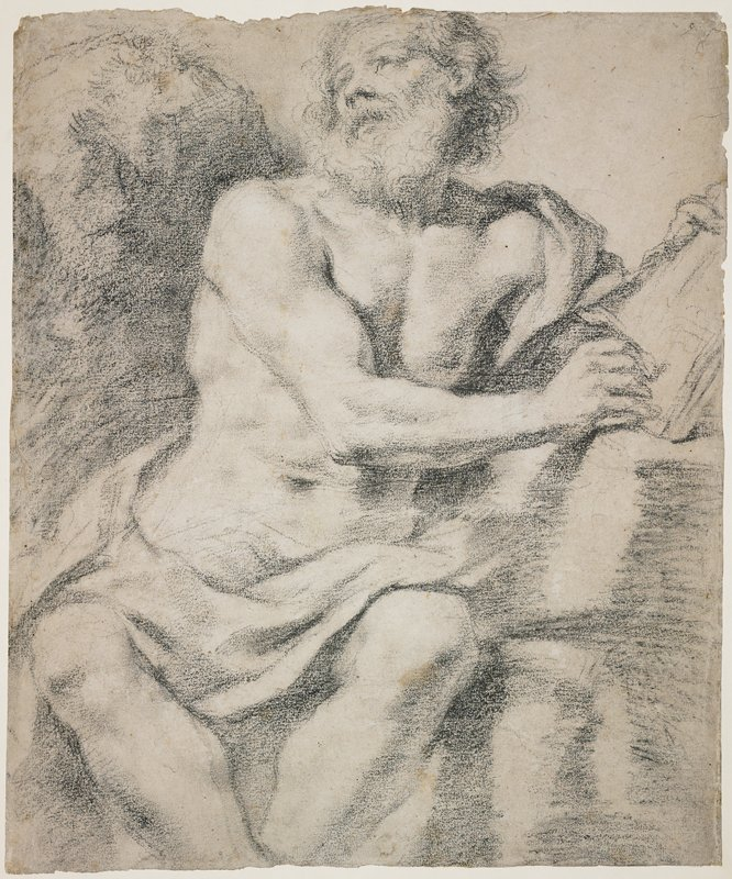recto: sketch of seated muscular man, with long curly hair and long white beard; head turned toward left, looking upward; PR arm across body, holding book (?) on table at right; drapery across lap; verso: curvilinear lines, script?