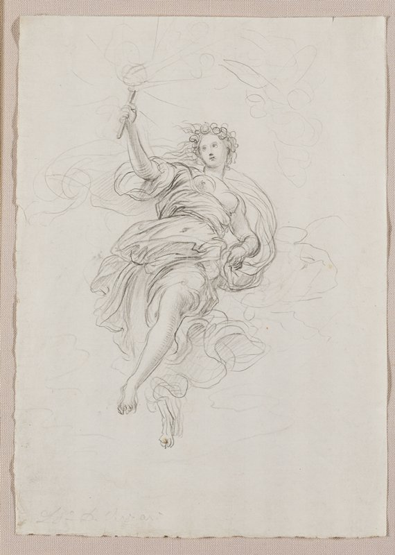 female allegory or angel, resting on clouds, holding a torch in PR hand; wearing flowing draperies; bare-chested