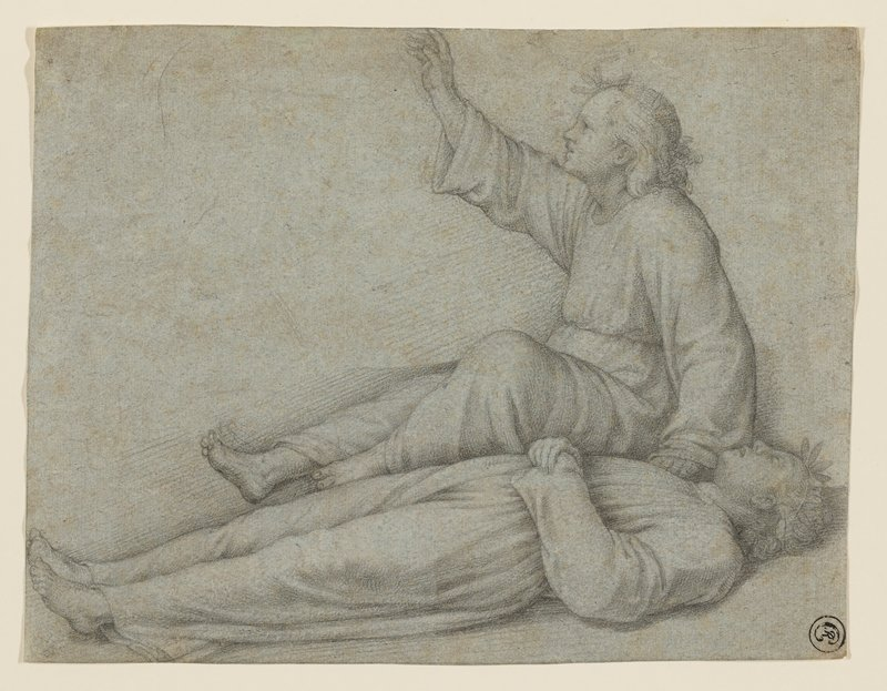 dead boy lying in foreground wearing a simple long-sleeved garment, with a foliate crown; same boy seated behind body, with his PL hand on chest of dead body and PR arm raised, head in profile from PL