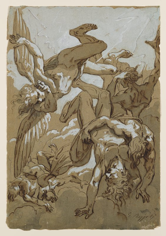falling partially draped figures; falling angel at left; clouds at bottom