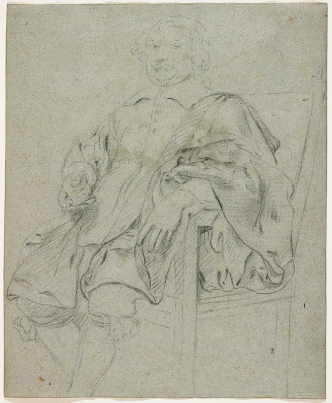 seated man wearing a coat with a wide collar and knickers; man has drapery over his PL shoulder; long curly hair; head lightly sketched, not fully completed