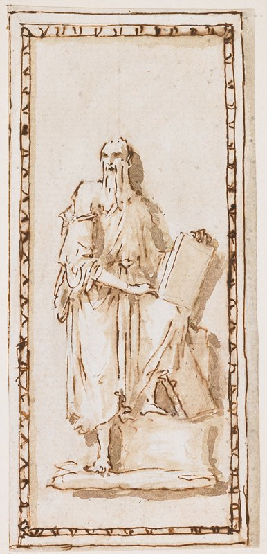 standing figure with long white beard; PL leg on a block; PR hand resting on PL thigh; figure holds stone tablet on PL knee; border drawn around figure