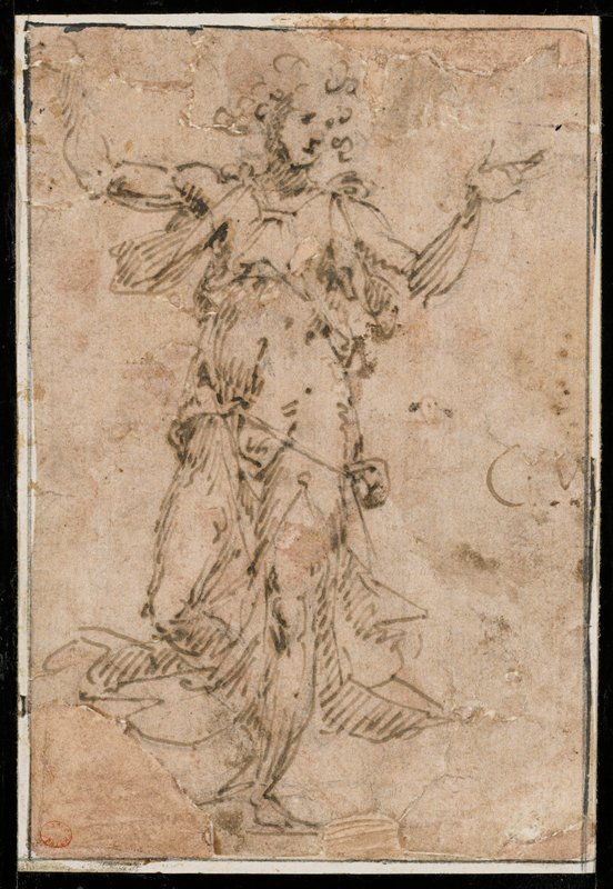 standing figures with draping garments; arms outstretched