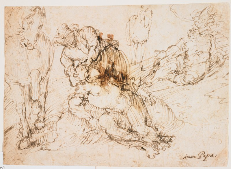 figure tending to a fallen figure at center; horse at left; another horse in background, URQ, with another partially reclining figure; hook-like hatching