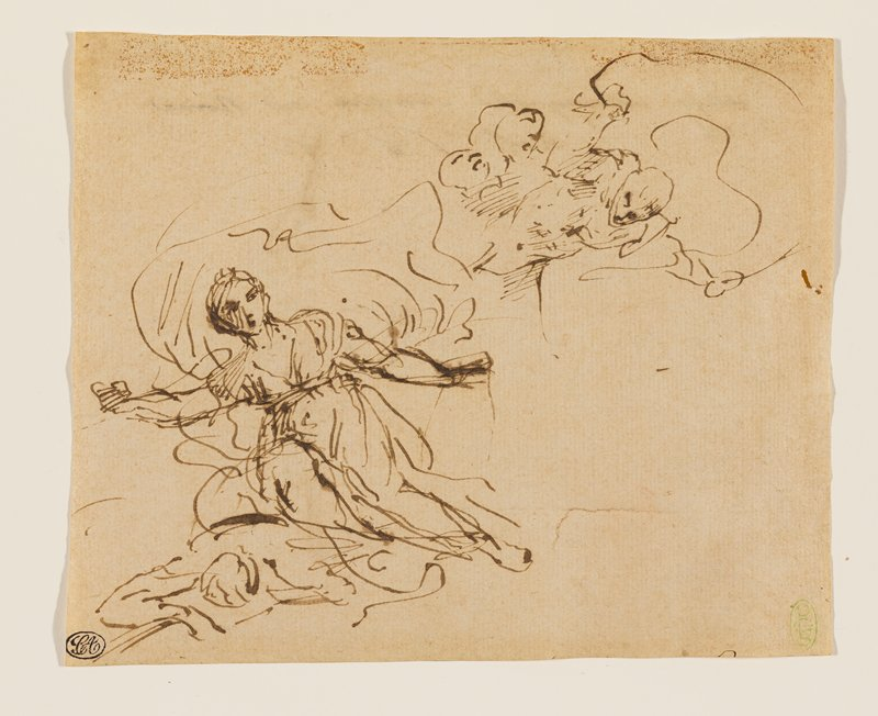 woman wearing flowing draperies in LLQ, with a suggestion of a billowing garment behind her head, hovering over a body; another sketchy figure in URC, with billowing garment behind his head