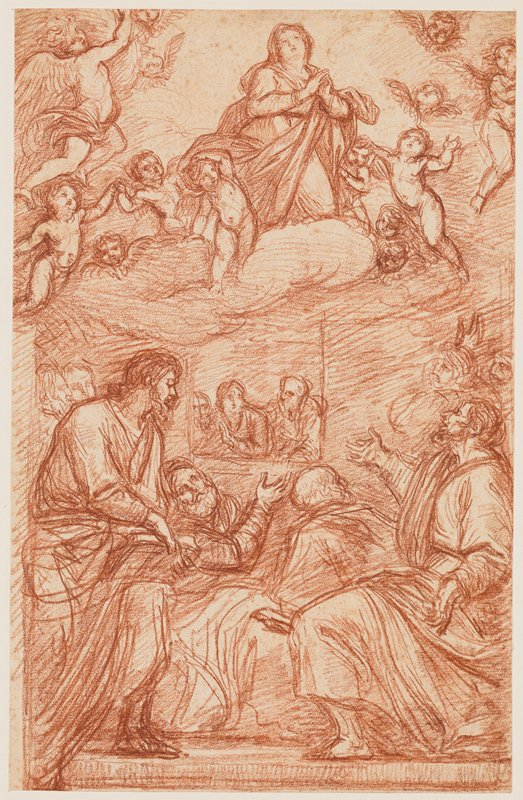 recto: Mary at top center kneeling on clouds, praying, surrounded by cherubs; figures at bottom kneeling and gesturing, with three figures looking in through a window at center; verso: small sketch of a man's face